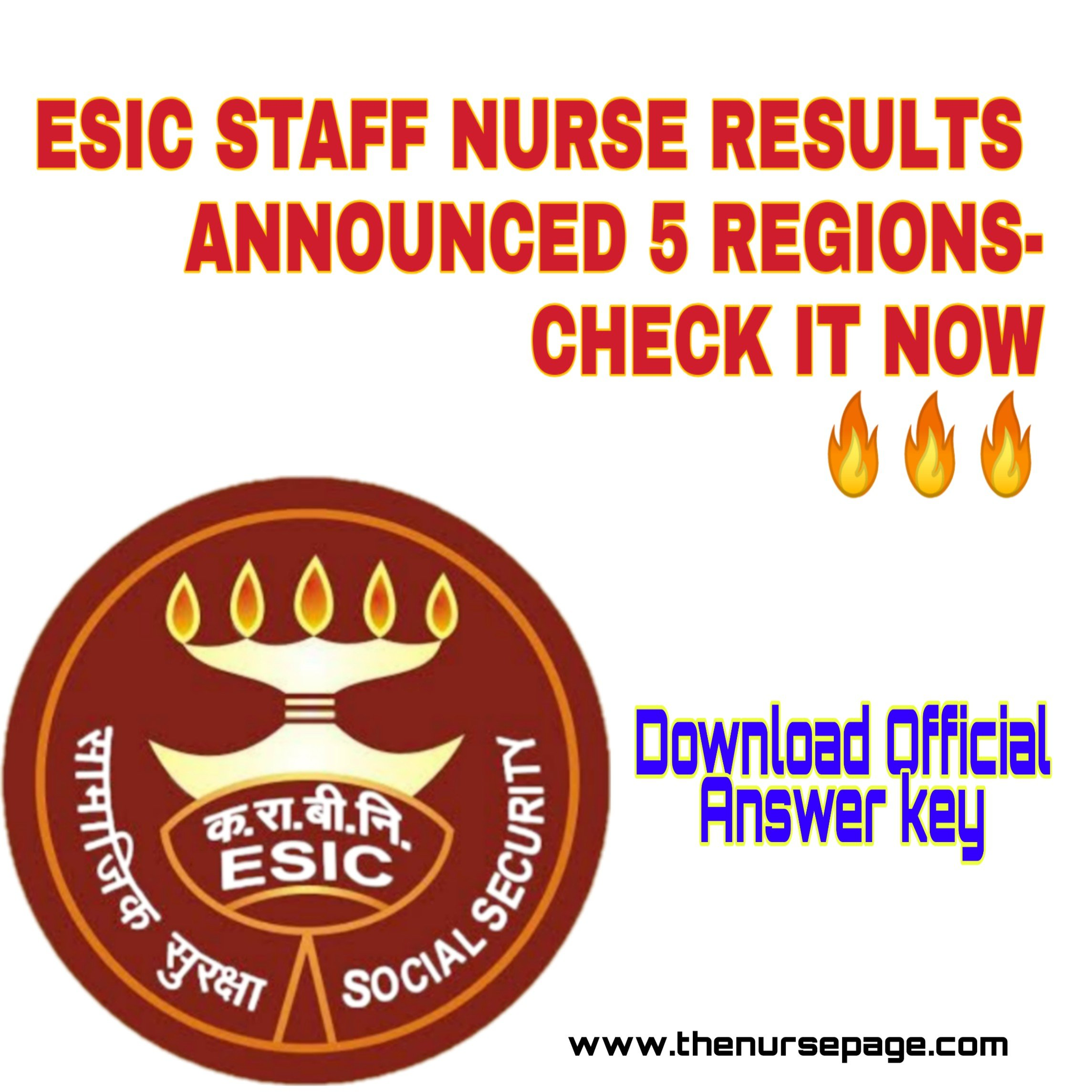 ESIC Staff Nurse Results Announced