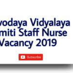 Navodaya Vidylaya Staff nurse vacancy