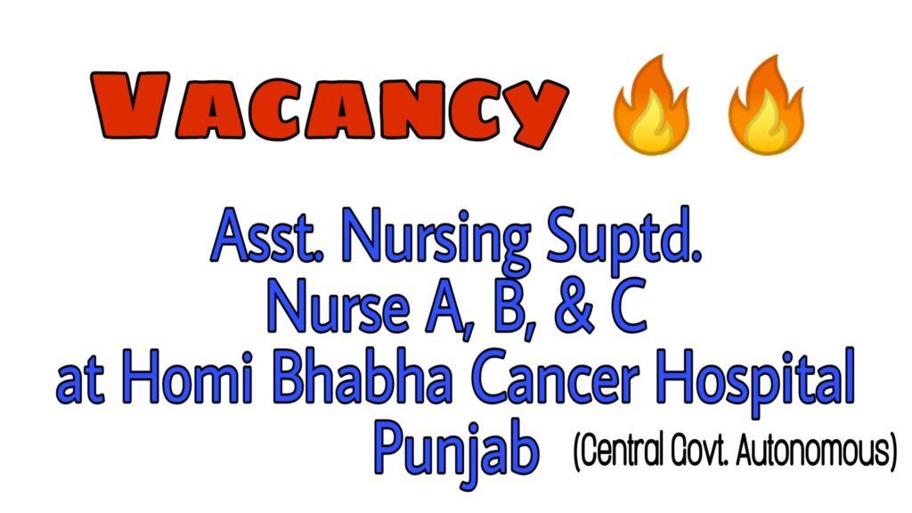 homi bhabha cancer hospital nurse vacancy