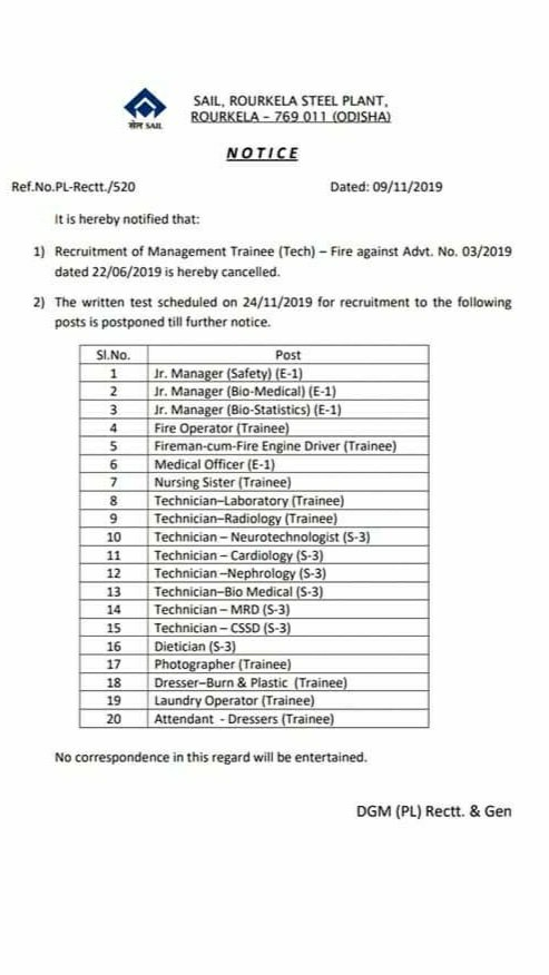 Sail rourkela nursing officer exam postponed