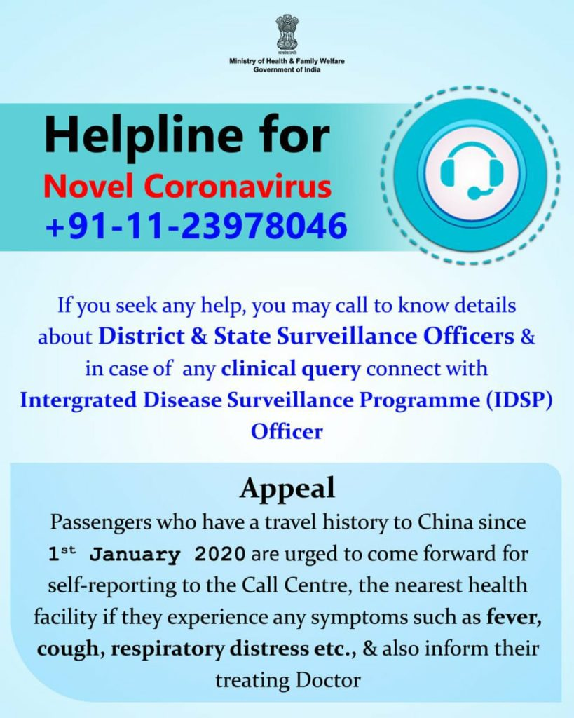 Helpline coronaviruses infection