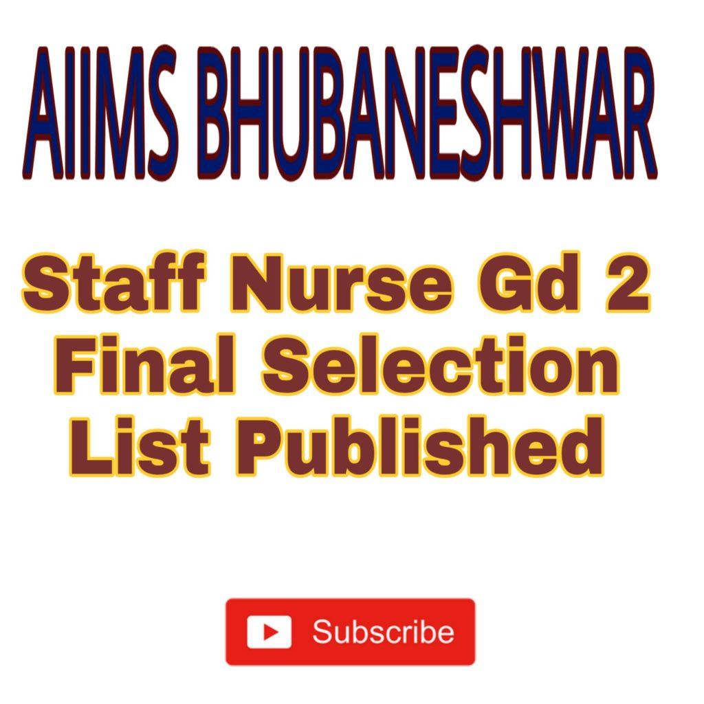 AIIMS Bhubaneshwar Staff Nurse Results