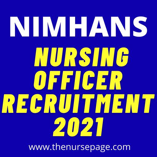 nimhans nursing officer recruitment 2021